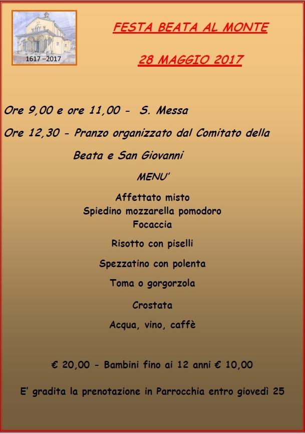 2017 festa beata menu